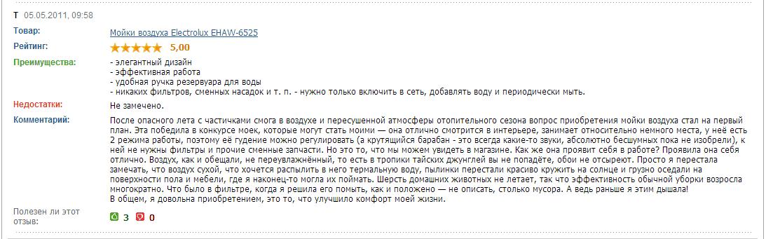 Отзывы_1_Electrolux EHAW-6525