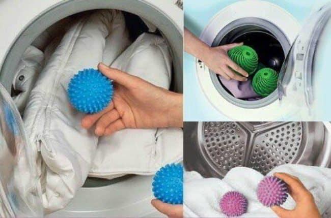 Для распушивания пуха можно применять специальные шарики