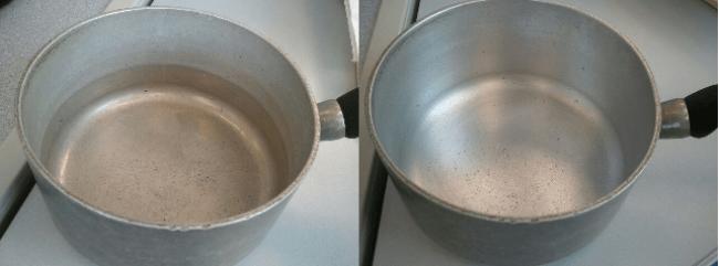 Нормальная и потемневшая алюминиевая посуда