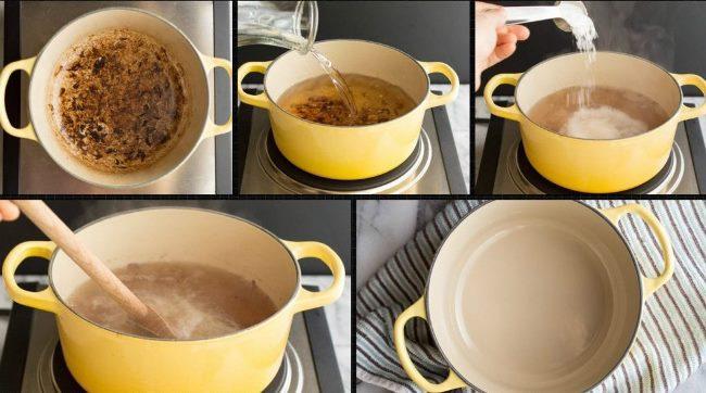 Последовательность очистки кухонной утвари солью