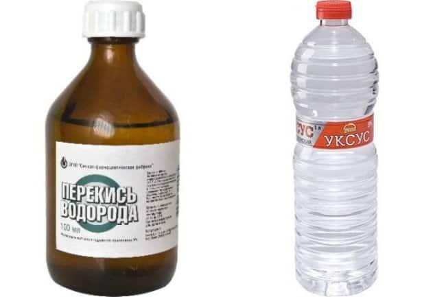 Перекись водорода и столовый уксус