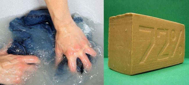 Благодаря хозяйственному мылу можно удалить пятна краски на многих типах ткани