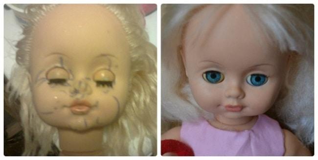Кукла до и после очистки белизной с уксусом