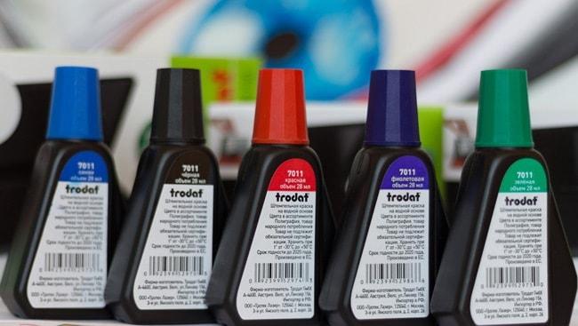 Штемпельная краска легко выводиться обычной водой