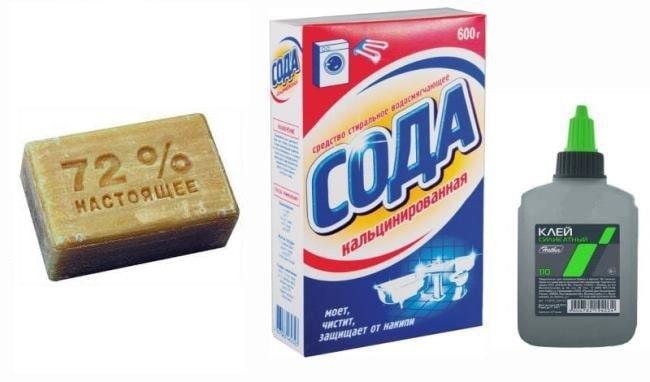 Сода, хозяйственное мыло и клей ПВА