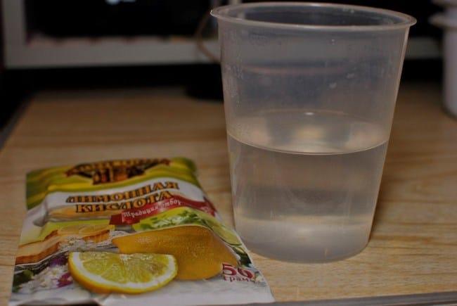 Чистка уксусом с добавлением лимонной кислоты