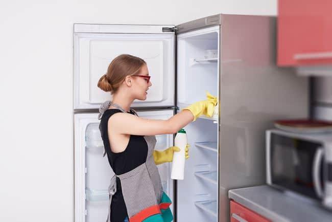 Холодильник регулярно моется при появлении неприятного запаха и образовании внутри загрязнений