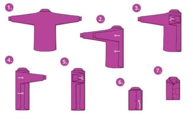 Проводите все действия на широком чистом столе, застегнув все пуговицы изделия (или хотя бы верхнюю и нижнюю)