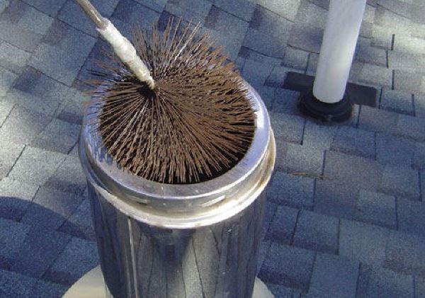 Дымоход можно очистить при помощи специального ерша