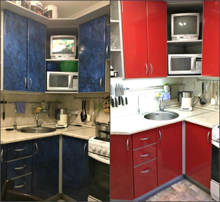 гарнитур кухонный до и после
