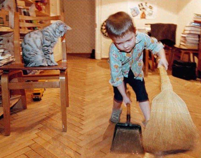 помогаем пожилым людям убираться