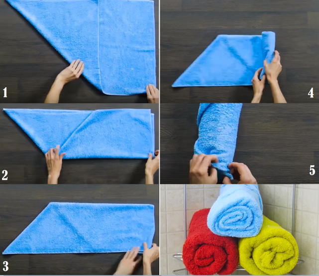 складываем полотенце в рулон