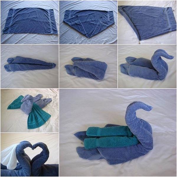 сложить лебедь из полотенца