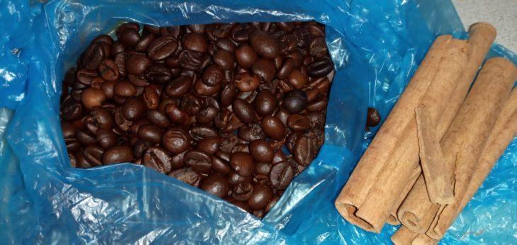 кофе убираем в целлофановый пакет